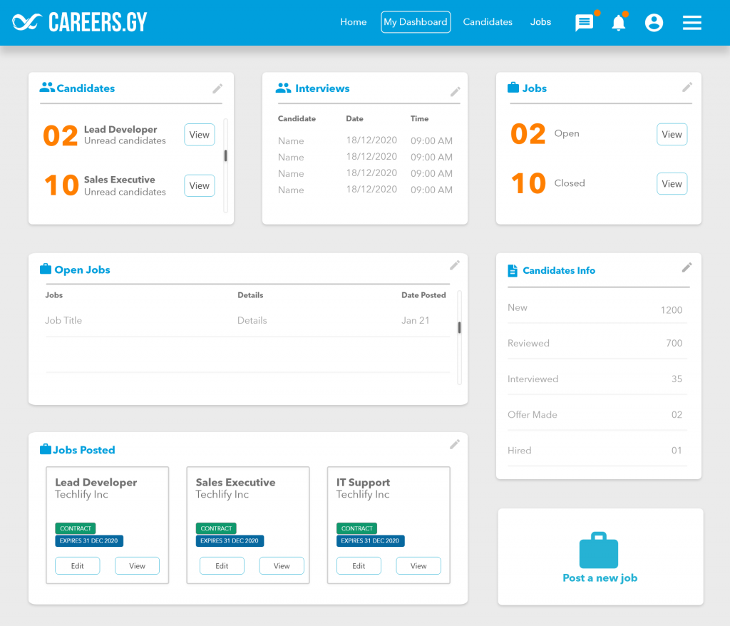The dashboard for recruiters - careers.gy