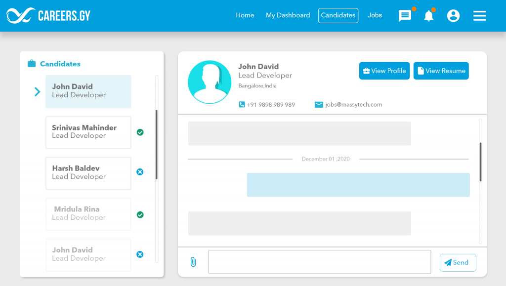 A screenshot of in-site messaging option - careers.gy