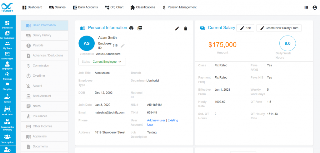 Employee Basic Information View Page